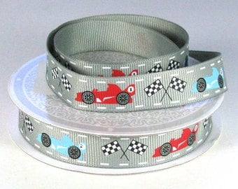 "5/8"" Race Car and Racing Flags Printed Ribbon"