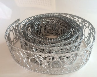 Decorative Metal Trim, metal trim, metal ribbon, aluminum wire, aluminum trim, DIY floral supply, silver trim, decorative wire, silver wire