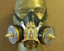 Custom Steampunk Respirator Style Face Mask - Vintage Respirator Upcycled Into Stunning Steampunk Mask