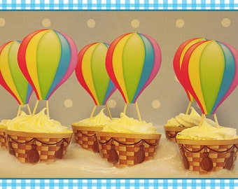 Hot Air Balloon Party Circles Amp Cupcake Toppers In Vintage