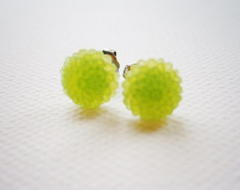 Frosted Lime Green Resin 10mm Dahlia Flower's set on Stainless Steel Earring Posts/Stud Earrings
