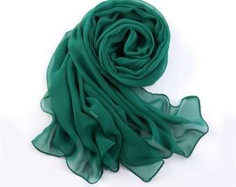 Dark Green Chiffon Scarf - Dark See Green Chiffon Scarf - PS26