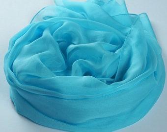 Blue Silk Scarf- Sky Blue Silk Scarf - Sky Blue Mulberry Silk Chiffon Scarf - Light blue Silk Scarf - AS2014-6