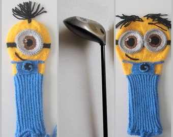 Hand Knit MINION Inspired GOLF Club Head Cover -Minion Golf Club Covers