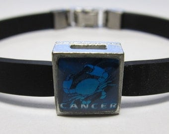 The Crab Cancer Zodiac Sign Link With Choice Of Colored Band Charm Bracelet