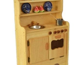 Wooden Play Kitchen- Wooden Toy kitchen- Waldorf Kitchen- Montessori Play Stove- Wooden Toys- Pretend Play Wooden Food-Child's Toy Kitchen