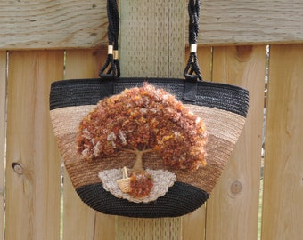 Upcycled Purse,Tree of Life,Autumn,Basket Purse,Vintage Purse,One of a kind Purse,Over the shoulder Purse,Vintage Straw Purse,Vintage Bag