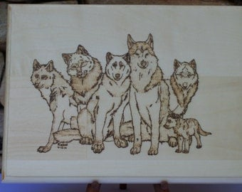 Wolf Pack Woodburning Pyrography