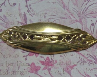 Vintage Elliptical Art Deco Like Cutwork  Pin Brooch