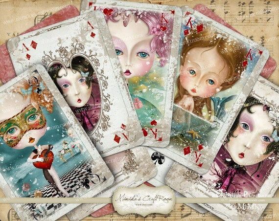 charming ladies playing cards full deck by mimikascraftroom