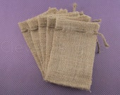 "50 - 3x5 Small Burlap Bags - Natural Rustic Burlap Bags with Natural Jute Drawstring for Showers Weddings Parties Receptions - 3"" x 5"""