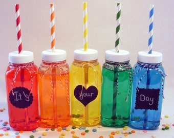 8 Milk Bottles Clear Plastic bottles and Lids with Straw Holes, including labels perfect for parties
