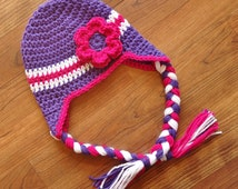 Crocheted Baby Girl Ear Flap Hat, Braided Ties and Flower, Crocheted Violet, Dark Pink & White Ear Flap Hat, Newborn to 5T - MADE TO ORDER