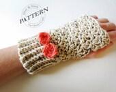 CROCHET PATTERN - Surrey Fingerless Gloves Crochet Pattern with bow (toddler, youth, adult sizes) crochet gloves, women girls (pdf #031G)