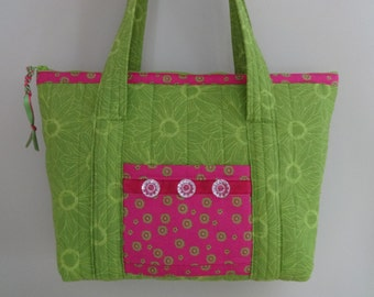 Handmade purse, pocketbook, tote, quilted, lime green and pink, zipper closure