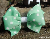 Adorable Girl's Hair Bow (Mint with White Polka Dots) Large Pinwheel Bow