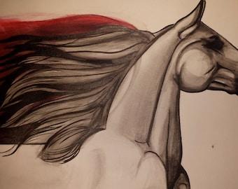 "Print from original watercolor drawing ""Sweet fury"""