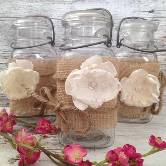 Rustic Wedding Centerpieces Mason Jars: Rustic Wedding Decor For 20 Jars Rustic By DenaDanielleDesigns