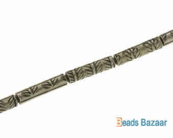 Karen Hill Tribe silver Leaf Printed Tube Spacer, 2 mm