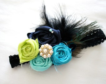 Peacock Feather and Rosette Lace Headband Embellished with Pearls, Ostrich feathers, and French Netting, Baby, Infant, Toddler, Photos