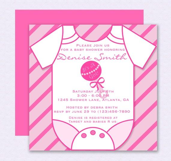 Pink Onesie Baby Shower Invitation Editable Template