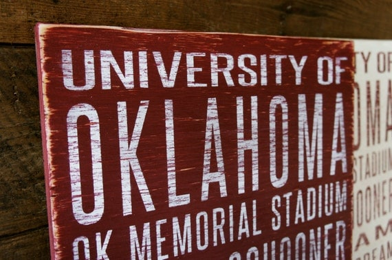 University of Oklahoma Sooners Distressed Wood Sign--Great Father's Day Gift!