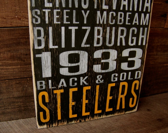 Pittsburgh Steelers Distressed Wood Sign--Great Father's Day Gift!