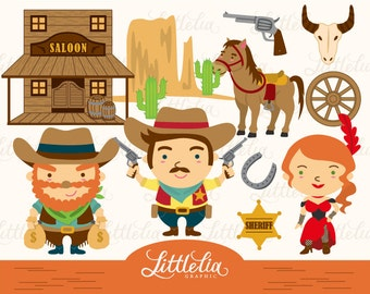 Wild wild west - Cowboy clipart / instant download - 1310