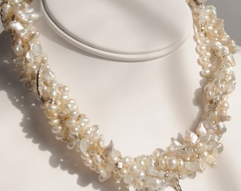 Bridal Statement Wondrous Torsade White Keshi, Seed,and Button Pearls, Fire Moonstones, Hill Tribe Sterling Silver, Multistrand Necklace