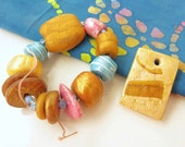 Fall harvest and berry colored polymer clay bead set, 13 beads + pendant  BS14-011 E