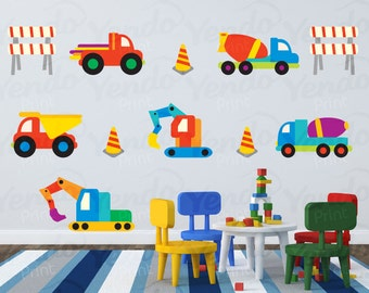Construction Truck Decal - Fabric Wall Art - Children Wall Decals - Repositionable Wall Decal