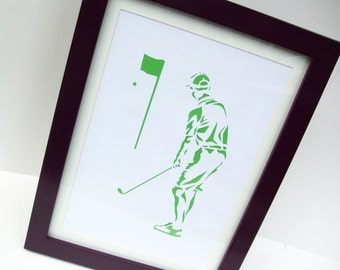 Paper cut Art - Golf Picture, Golfer, Sport Art, Artwork - Silhouette - Father's Day, Christmas Birthday Gift for a Man