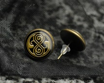 Doctor Who earrings – Seal of Rassilon – BBC Dr Who fandom cosplay prop – jewelry / jewellery