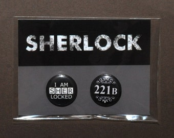 Sherlock pins buttons badges – 221B Baker Street – I Am Sherlocked cosplay prop accessory – fandom costume – 1 pack of 2 buttons