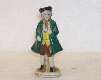 Porcelain Diplomat Gold Trim Colonial Figurine Made in Occupied Japan