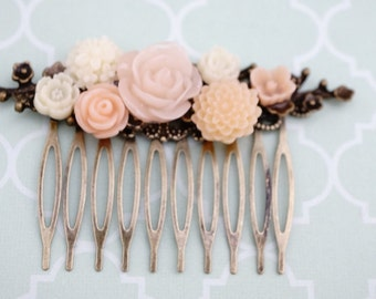 50% off SALE Ivory and Peach flower cherry blossom hair comb, bridal hair comb, Resin rose hair comb, brass leaves,  No. H28