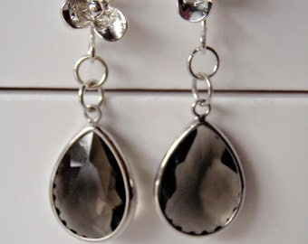 Silver plated flower ear wire with smoky crystal earrings