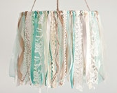 Ribbon Mobile, Baby Ribbon & Lace Mobile, mint and aqua baby mobile, baby girl mobile, hanging decor, crib mobile, nursery