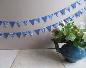 56 paper flags -  French blues, indigo - Geometric Garland - Wedding bunting -   Triangle bunting.