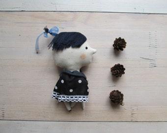 Polka dot fabric toy - Miniature doll - Gift for boy girl - Wall decor home - Stuffed textile rag doll - Black white