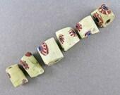 African Trade Beads 6 Venetian Glass Beads Bear Claw Beads Antique Beads Supplies Craft Supplies Goodoldbeads UK