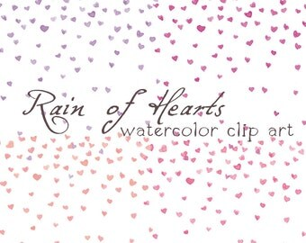 4x Digital Clipart ,Watercolor Hearts, Rainf of Hearts, Confetti, Pink Heart,  Violet Heart