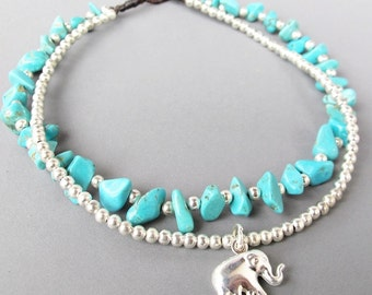 Turquoise Ankle Bracelet - Double Strands Turquoise Stone Silver Color Bead added Asian Elephant Charm
