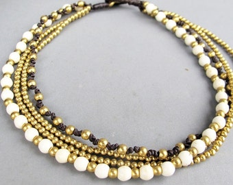 Multi Line White Howlite Brass Bead Beaded Ankle Bracelet