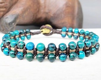 Beaded Bracelet - Woven Bracelet with Brass Bead and Chrysocolla Bead