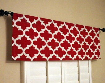 Red Window Valance - Window Valance - Kitchen Red Window Valance
