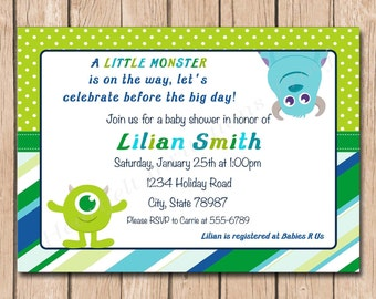 Mini Monsters Inc. Baby Shower Invitation - 1.00 each printed or 10.00 DIY file