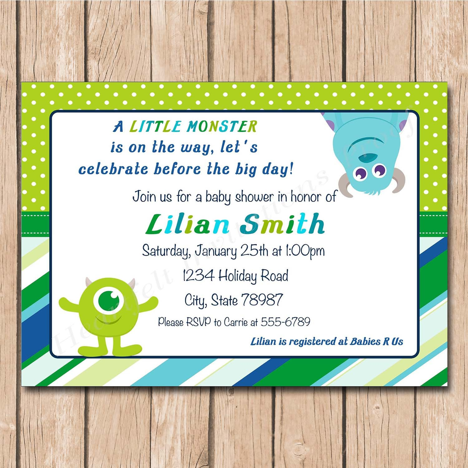 mini monsters inc baby shower invitation each printed