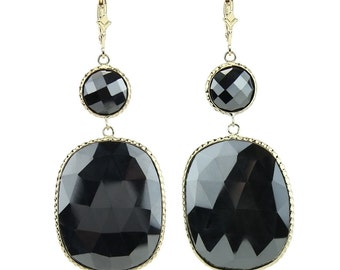 14K Gold Gemstone Earrings With Hematite
