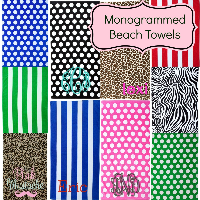Initial Towels: Monogrammed Beach Towel / Pool Towel / Bridesmaid Gift